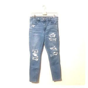AEO high waisted distressed stretch skinny jeans